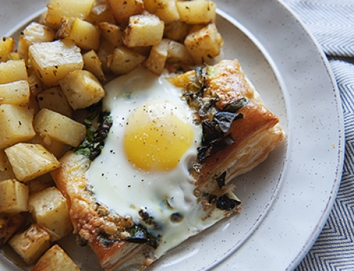 Egg + Swiss Chard Breakfast Pastries with Homestyle Potatoes