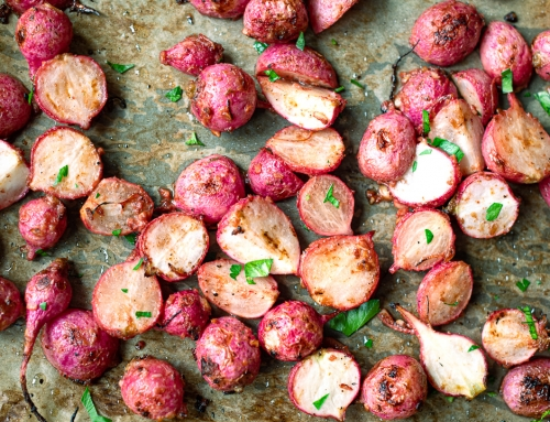 Garlic Miso Roasted Radishes