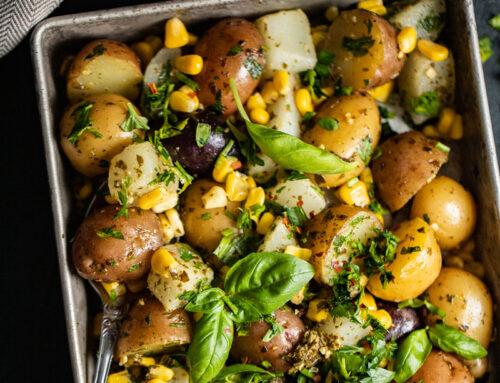 Kohlrabi + Potato Salad with Garden Herb Pesto
