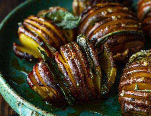 Hasselback Beets with Crispy Sage + Honey Mustard Glaze