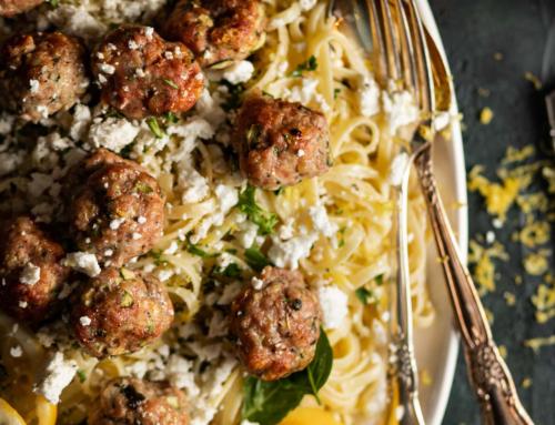 Zucchini Meatballs with Lemon Linguini