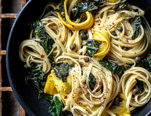 Zucchini and Kale Lemon Pepper Pasta